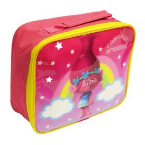 TROLLS RAINBOW DREAMS INSULATED THERMAL LUNCH BAG HANDLE BOX SCHOOL PINK GIRLS