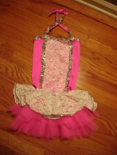 New Girls Pink Leotard Glitter Dance Ballet Costume Sz 4 - 5 two pieces