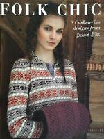 Debbie Bliss Folk Chic Kitting Pattern Booklet, 8 Cashmerino Designs