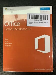 Sealed Microsoft Office Home & Student 2016 PC Key Card English 1 User 79G-04597