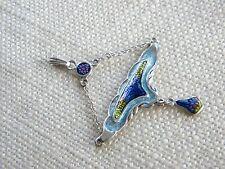 Art Nouveau style Silver 925 pendant ~ENAMEL beautiful colours ~