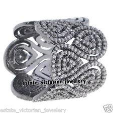 Diamond Silver Eternity Band Ring Jewelry Artdeco Estate 3.65Ct Natural Rose Cut
