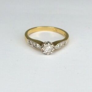 Vintage 18CT yellow Gold 0.25 Brilliant Solitaire Diamond Engagement Ring O 1/2