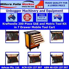 Kraftwelle 200 Piece SAE and Metric Tool Kit in 7 Drawer Mobile Tool Cart