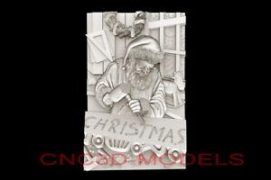 3D Model STL for CNC Router Artcam Aspire Merry Christmas Santa Claus D686