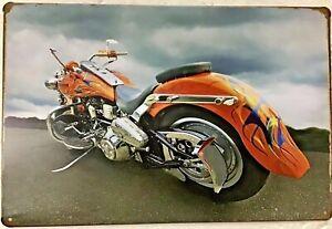 8x12 Tin sign custom motorcycle orange chopper vintage wall door poster plaque