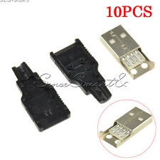 10PCS USB2.0 Type-A Male 4-pin Plug Socket Connector Adapter Black Plastic Cover