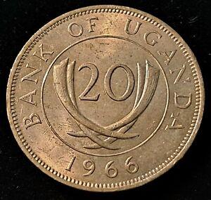 1966 Uganda 20 Cents Nice Coin