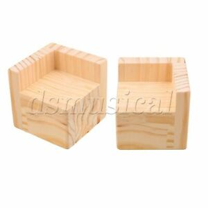 2Pcs Semi-closed Bed Risers Wooden Color Furniture Risers for Sofa Table