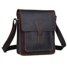 Herren Echtes Leder Hart Schultertasche Braun iPad Umhängetasche Messengertasche