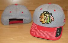 Adidas Chicago Blackhawks Line Change Snapback Heathered Grey Hat Cap Men's