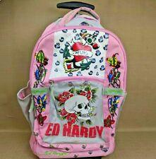 Ed Hardy By Christian Audigier Pink Backpack /w Wheels Butterflies Skull Hearts