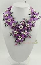 N14073107 purple agate white FW pearl flower necklace earrings set