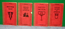 Lot of 4 Funk & Wagnalls Red Cloth Books - Faulty Diction Slips of Speech & More