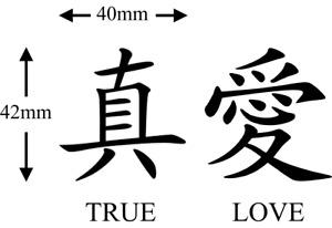 Chinese True Love Symbol Temporary Tattoos