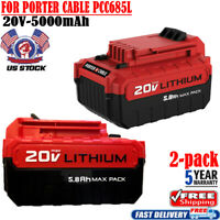 2X 5.0AH PCC685L 20V MAX Lithium Battery For Porter Cable PCC680L PCC682L PCC661