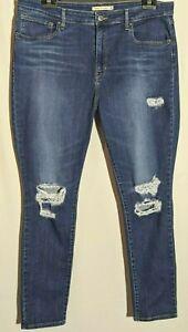 Women's Levi's Jeans 721 High Rise Skinny Stretch Blue Distressed Size 16 Leg 30