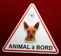 plaque animal à bord à ventouse chien pinscher 3 dog hund perro cane