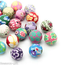 30PCs Polymer Clay Spacer Beads Pattern Printed Round Mixed