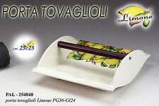Idea regalo portatovaglioli carta in ceramica decoro limoni cm 25*25