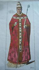 COSTUME PORTRAIT ILLUSTRATION COULEUR PAPE XIV éme SIECLE JACQUEMIN ITALIE