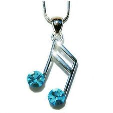 w Swarovski Crystal piano ~Aqua Blue MUSIC NOTE musical Jewelry Pendant Necklace