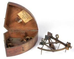 Antique c1860 ADOLF DOLBERG - ROSTOCK GERMANY - CASED SEXTANT w Three Lenses