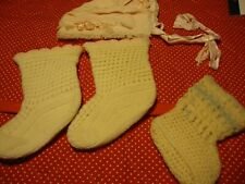 4pc Antique Vintage Baby Clothing Lot Misc Socks & Bonnet ~Mid-Century Items 254