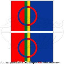 "SAMI PEOPLE Flag Saami Lapps, SAPMI Lapland 4"" (100mm) Vinyl Stickers, Decals x2"