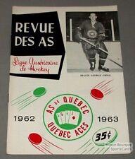 1962-63 AHL Quebec Aces  Program Reggie Grigg Cover