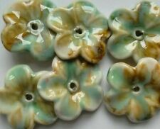 6 Porcelain Flower Beads, Pale Blue Multicolour, 38 mm. Jewellery/Beading Crafts