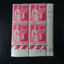 FRANCE TIMBRE TYPE PAIX N°370 COIN DATÉ 21.03.1939 NEUF ** LUXE MNH COTE 25€