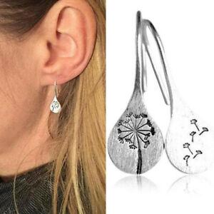 Women Simple Vintage 925 Silver Dandelion Stud Earrings Wedding Jewelry UK