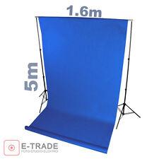 Profi BLAU blue - Hintergrund 1.6m x 5m Lang ! mit Pappröhre FOTOHINTERGRUND
