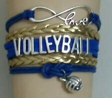 VOLLEYBALL LEATHER CHARM BRACELET SILVER ADJUSTABLE - BLUE & GOLD - SPORTS #256