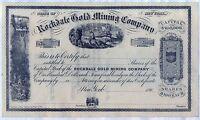 Rockdale Gold Mining Company Stock Certificate New York