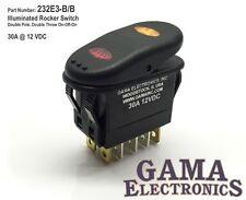 Illuminated 30 Amp 2 Pole 3 Position On-Off-On Rocker Switch - 232E3-B/B