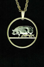"Pig & Piglets Pendant & Necklace. Ireland Coin Hand cut - 1"" diameter ( # 170 )"