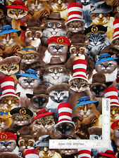Cats Kitty Cat Animal Wearing Hats Cotton Fabric Timeless Treasures C3782 - Yard