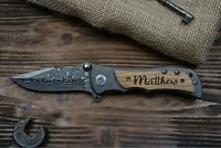 Monogrammed Personalized Engraved Folding Pocket Knife , Heavy Duty Damascus