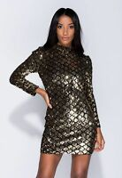 Womens Gold & Black Sequin Long Sleeve Short Mini Party Dress UK Sizes 8 10