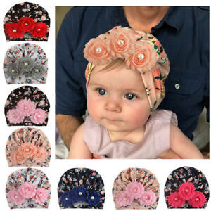 Toddler Kids Pearl Three Flower Cap Infant  Bow-knot Headwrap Elastic Beanie Hat