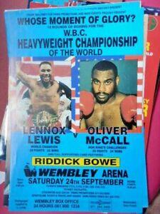 LENNOX  LEWIS  V  OLIVER  McCALL   -   BOXING POSTER  /  FLYER - 1993