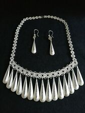 JARA STERLING FINE SILVER ART FILIGREE  COLLAR /EARRINGS. 925
