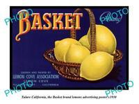 OLD LARGE HISTORIC PHOTO OF TULARE CALIFORNIA, BASKET LEMONS Ad POSTER c1930