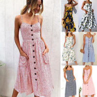 Womens Summer Boho Strappy Button Beach Midi Swing Sundress Long Maxi Dress UK