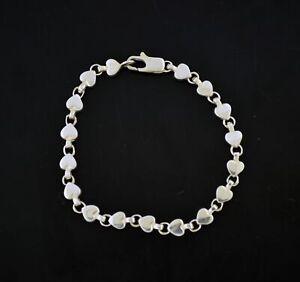 "Vintage Tiffany & Co 925 Sterling Silver Heart Link Tennis Bracelet Size 7.25"""