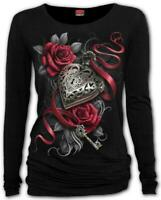 Spiral Direct HEART LOCKET Womens, Goth/Roses/Long Sleeve/Viscose/Top/Clothing