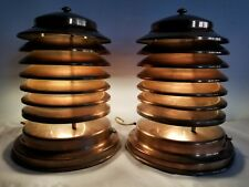 Vtg Rare Larger Version Pair 1940s Coulter Louvered Copper Table Lamp Canada