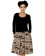 *Cute Folter Multi Mustache Printed Full Swing Pocket Knee Skirt Hipster M